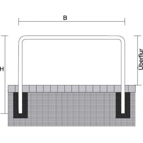 Rammschutzbügel Ø 76 mm , zum Einbetonieren