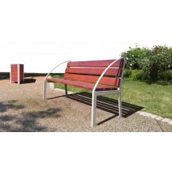 Sitzbänke aus Stahl und Holz, zum Aufdübeln, Armlehnen Bogen