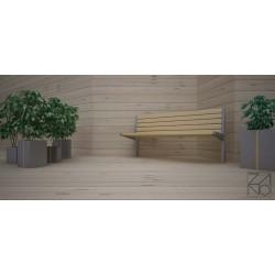 Sitzbank aus Edelstahl und Holz, zum Einbetonieren
