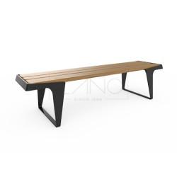 Parkbank aus Stahl / Edelstahl und Holz, zum Aufdübeln, ohne Rückenlehne