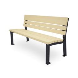 Sitzbank aus Stahl und Holz, mit Rückenlehne