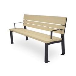 Sitzbank aus Stahl und Holz, mit Arm-und Rückenlehnen