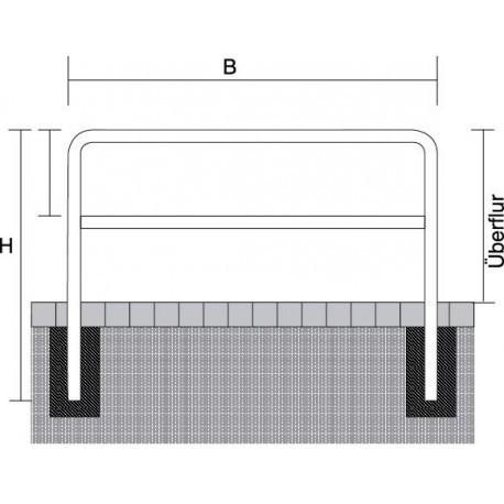 Abweisebügel Ø 60 mm, mit Querholm, zum Einbetonieren