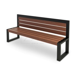 Sitzbank aus Stahl und Holz