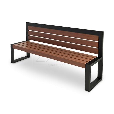 sitzbank aus stahl und holz ohne armlehnen. Black Bedroom Furniture Sets. Home Design Ideas