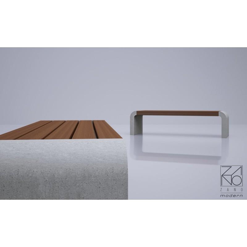 bank aus holz und stahl oder beton ohne r ckenlehne. Black Bedroom Furniture Sets. Home Design Ideas