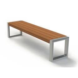 Sitzbank aus Edelstahl und Holz, ohne Rückenlehne