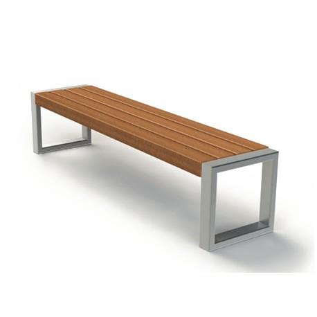 moderne sitzbank aus edelstahl und holz ohne r ckenlehne. Black Bedroom Furniture Sets. Home Design Ideas