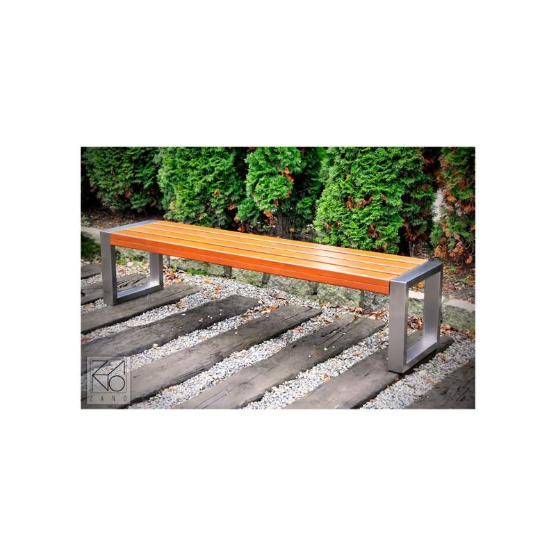 Moderne Sitzbank aus Edelstahl und Holz, ohne Rückenlehne