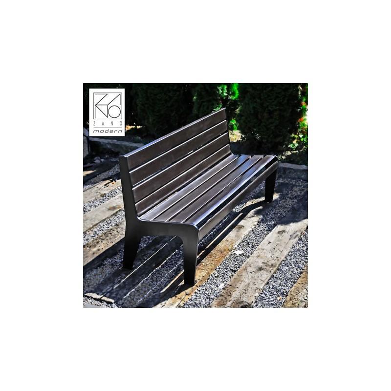 parkbank aus stahl und holz mit r ckenlehne. Black Bedroom Furniture Sets. Home Design Ideas