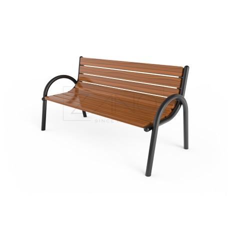 parkbank aus stahl und holz mit r cken und armlehnen. Black Bedroom Furniture Sets. Home Design Ideas