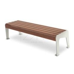 Parkbank aus Stahl/Edelstahl und Holz, ohne Rückenlehne