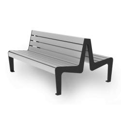 Sitzbank aus Stahl und Holz, zweiseitig
