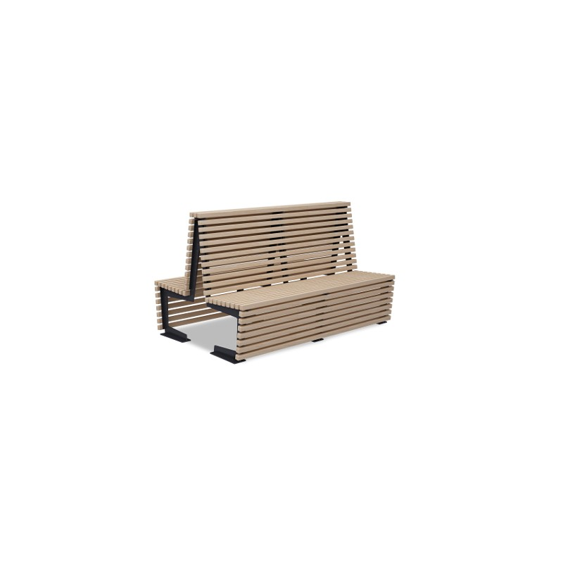zweiseitige sitzbank aus holz und stahl. Black Bedroom Furniture Sets. Home Design Ideas