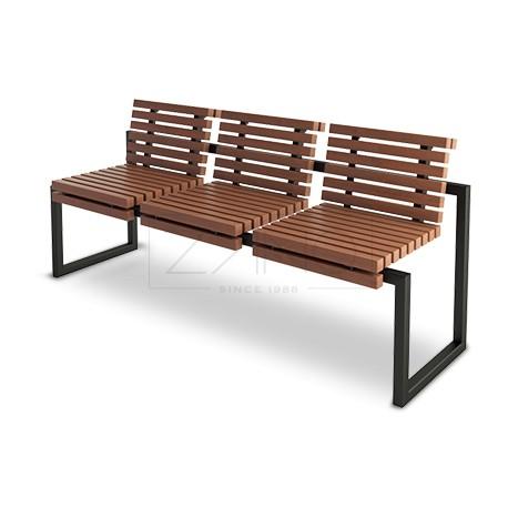 parkbank aus stahl und holz ohne armlehnen. Black Bedroom Furniture Sets. Home Design Ideas