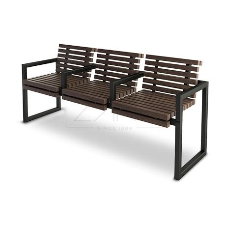 bank aus stahl und holz mit armlehnen. Black Bedroom Furniture Sets. Home Design Ideas