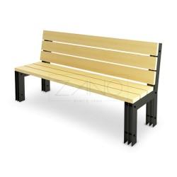 Sitzbank aus Flachstahl und Holz