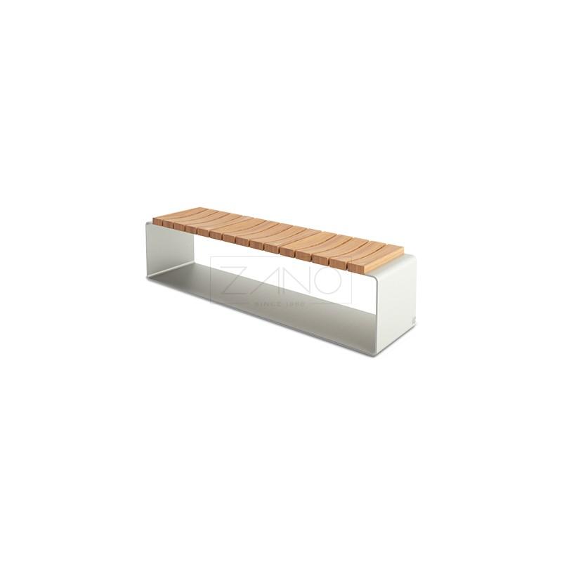 bank aus stahl und holz ohne r ckenlehne. Black Bedroom Furniture Sets. Home Design Ideas