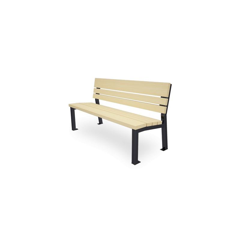 sitzbank aus stahl und holz mit r ckenlehne. Black Bedroom Furniture Sets. Home Design Ideas