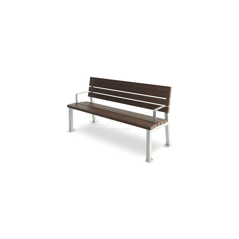 sitzbank aus stahl und holz mit arm und r ckenlehnen. Black Bedroom Furniture Sets. Home Design Ideas